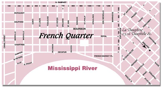 Map of the French Quarter, New Orleans